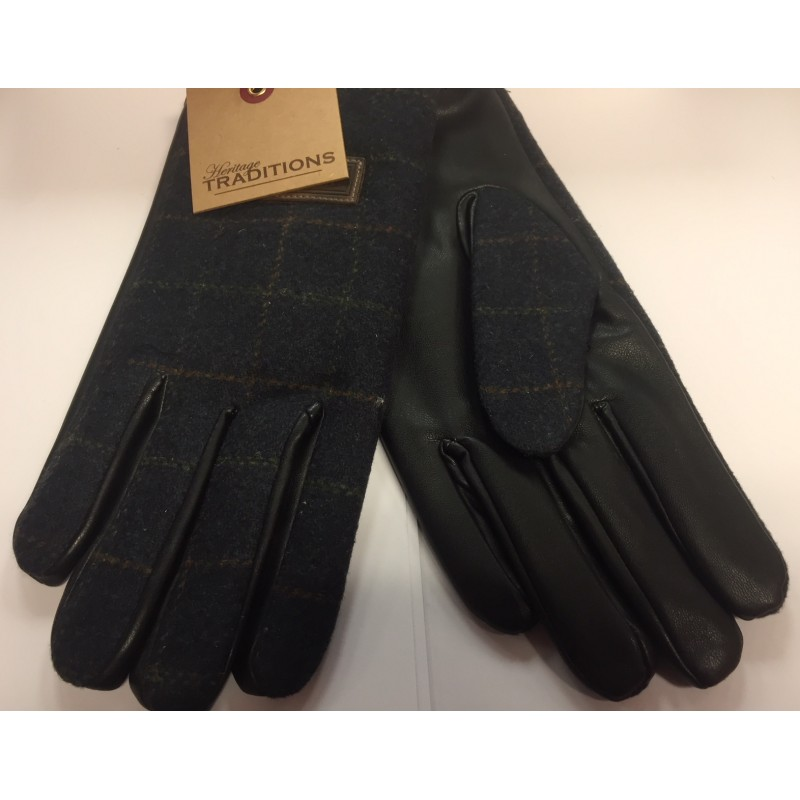 Heritage Traditions Blue Box Tweed Mens Gloves in Gift Box