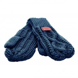 Knit Style Aran Cable Navy Mitten Gloves