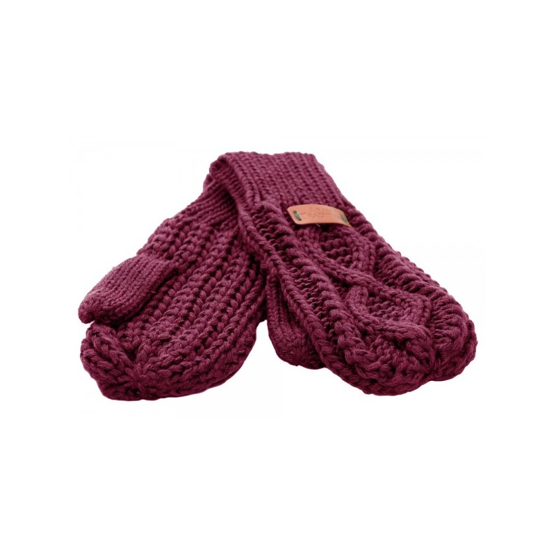 Knit Style Aran Cable Raspberry Mitten Gloves