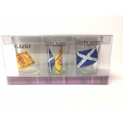 Scottish Gift's - Shot Glasses Bottoms up twin flagsTwin pack - uk Gift's