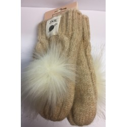 Kids Aran Cable Oatmeal Mittens with pom pom