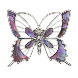 Tide Jewellery inlaid pink Paua shell Butterfly brooch with inset glass stones on brooch pin