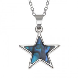 "Tide Jewellery inlaid blue Paua shell Star pendant, on 18"" trace chain"