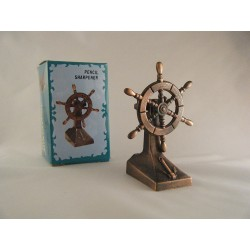 SHIPS WHEEL DIE-CAST ANTIQUE STYLE NOVELTY PENCIL SHARPENER