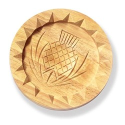 Traditional Quality Small Wooden Shortbread Mould - Scottish Thistle Pattern