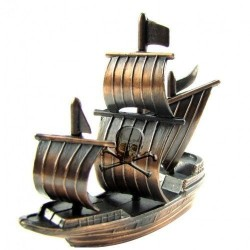 Metal Bronze Model Replica Pirate Ship Die Cast Toy Pencil Sharpener