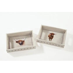 Small wooden Highland Cow Tray