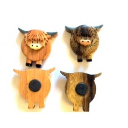 Wooden Highland Cow Magnet (1 SUPPLIED)