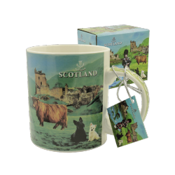 Scottish scenes mug in box