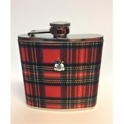 6oz Red Tartan Hip Flask with Oban Coat of Arms Badge