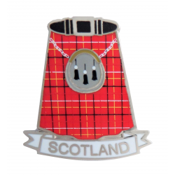 Scotland Red Tartan Kilt & Sporran Pin Badge