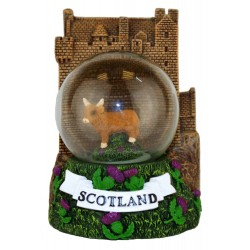 Highland Cow Castle Snowglobe