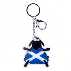 Scottish Saltire Dancing Sheep Acrylic Keyring