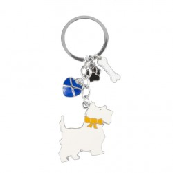 Scottie Dog With heart Paw Bone keyring
