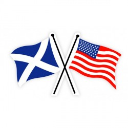 Scottish Saltire and American Crossed Flag Sticker