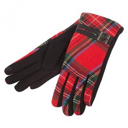 Heritage Of Scotland Women's Tartan Buckle Glove Red