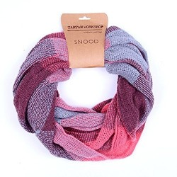 Basket Weave Style Snood, Pink and Grey Colours