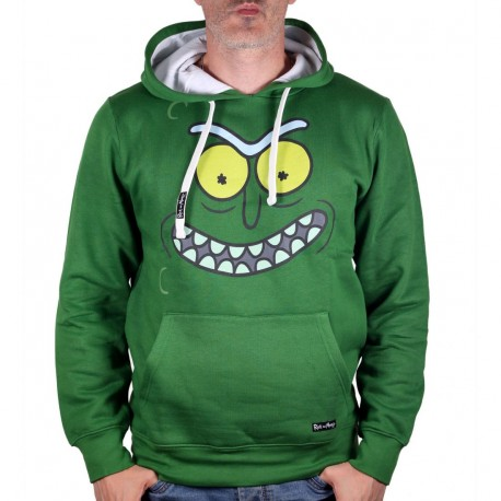 Cotton Division Rick and Morty Hoodie Pickle Rick Face Hooded Green Small