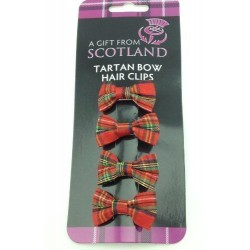 Red Tartan Bow Hair Clips - Set of 4