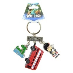 Fancy That Gifts Ltd Scotland Charm Keyring With Die Cast Bus, Bagpiper and Nessie