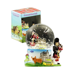 Scottish Piper & Castle Snowglobe