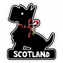 Scottish Black Scottie Dog with Tartan Bow and Scotland Vinyl Car Sticker Decal