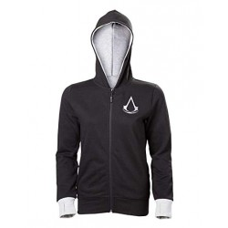 Assassin's Creed Find Your Past Girls Hooded Zip Black/Mottled Light Grey (Large)