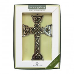 Bronze Plated Wall Plaque With Celtic Love Cross Design