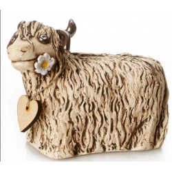 Ceramic Highland Cow with messaging wooden heart