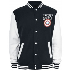 Captain america Logo Varsity Jacket Black-White  - XL