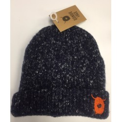 Kids Knitted Navy Beanie Hat with Highland Cow Logo
