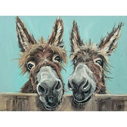 Louise Brown (Double Trouble) Donkeys Canvas Print 30 x 40cm