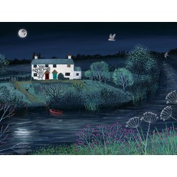 Jo Grundy Moon River Canvas Print 60x80cm