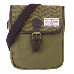 Harris Tweed and Canvas Ladies or Gents Traditional Small Crossover Messenger Bag (Green)